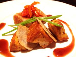 アンキモのステーキ 若鶏赤ワイン煮入りのクロケットと共に マデラソース