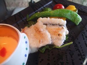 鱧(ハモ)と夏野菜のポワレ 鱧出汁のフラン