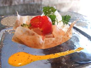 ホタテと冬野菜のエテュベ バーニャカウダ風味