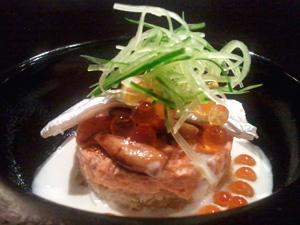 秋鮭のリエットと茸のバルサミコ風味 白葱のブルーテ