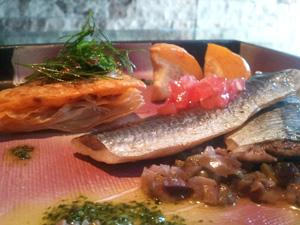 秋刀魚のコンフィ プッチーニ(ぷち南瓜)のファルス添え