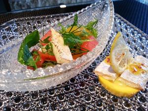 西瓜と甲イカのハーブマリネ 太刀魚のコンフィと共に