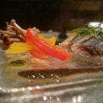 『 秋刀魚のサオール 肝ソース パプリカのピクルスと共に 』です。